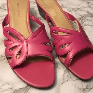 Hot Pink Sandals Leather Low Heel Slip On Style